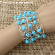 Turquoise Beaded Wire Cuff Bracelet