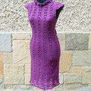 Crochet Women Dress, Darkmagenta Dress,  Crochet Lace Dress, Cocktail Crochet Dress