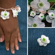 Green Eyes Daffodil Charm Bracelet