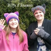 Cat Hats & Kitten Mittens & Wristers Set
