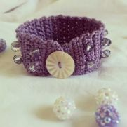 purple gem beaded bracelet