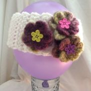 Ear warmer/headband with felted flowers