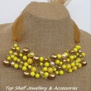 Lemon and Gold crochet wire and beaded Bib Necklace