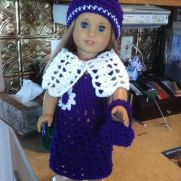 American girl doll dress, shawl, hat, purse
