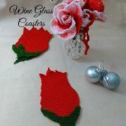 Peppermint Roses and Rose Wine Glass Coasters