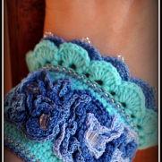 Crochet cuff bracelet in sea colors