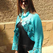Knitted Turquoise Shrug, Long Sleeves Bolero, Turquoise Bolero, Delicate Romantic, Lace Chic