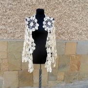 Crochet Wedding Shawl, Bridal Champagne Shawl, Bridesmaid Wrap, Lace Bridesmaid Fashion