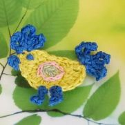 Crochet Rooster Bird Applique