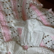 afghan in pink n white and knitted and crotchet matinee