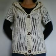 Cream Mesh Drawstring Hooded Cardigan