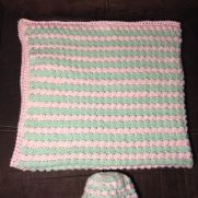 Pink and Green Baby Blanket with Matching Hat