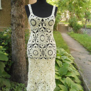 Crochet Dress, Summer Lace Dress, Lace Champagne Dress, Exclusive Handmade Dress