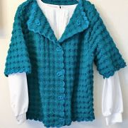 Ladies Teal Shell Stitch Cardigan and Skirt