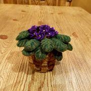 Crochet african violet, leaves an basket