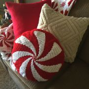 Crocheted peppermint pillow