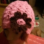 Stitches week 1  pink and brown girls hat