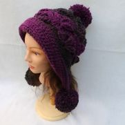 Frozen Snow Hat in Lion Brand Scarfie Yarn.  Magenta/Charcoal