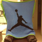 Basketball player silhouette afghan