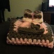 Baby blanket, hat, booties