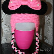 Minnie mouse crohet baby hat