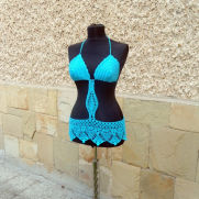 Crochet Beach Top, Turquoise Summer Beachwear, Summer Crochet Top, Crochet Turquoise suit,