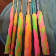 clay handles on my crochet hooks