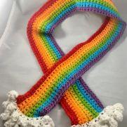 Handmade Crochet Rainbow Cloud Scarf
