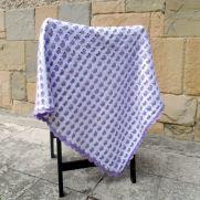 Heart Baby Blanket, Crochet Baby Blanket, Baby Shower Gift, White and Purple Baby Blanket