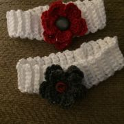 Crocheted baby girl floral headband