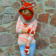 Crochet Fox Hood Scarf With Fingerless Gloves