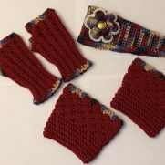 Autumn Colors Flower Adjustable Headband, Fingerless Gloves, and Boot Cuffs Set