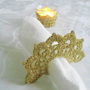 Tea Candle Holder and  Crochet Napkin Rings,  Golden Crochet Table Holder, Wedding Celebration