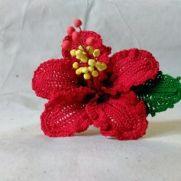 Chevron Red Hibiscus Crochet Flower