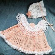 Peach crocheted baby set
