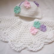 Crocheted Poncho and pull on hat