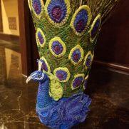 Crochet Peacock Vase