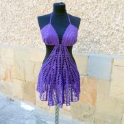 Purple Lace Beach Dress, Crochet Skirt Boho Tunic, Fashion Dress Cover Up, Cotton Cover Tunic