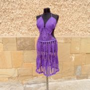 Crochet Purple Dress, Purple Handmade Dress, Summer Beach, Lace Dress, Summer Lace Tunic