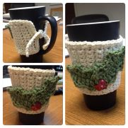 Coffee Cup Cozie with Holly and Button Berries