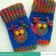 How To Crochet Fingerless Owl Gloves