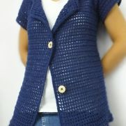 Navy Blue Mesh Hooded Cardigan
