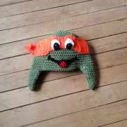 Crocheted inspired Ninja Turtle Hats