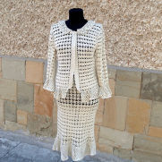 Crochet suit, Crochet Suit In Handmade, Two piece suit jacket and skirt, Lace women Costume