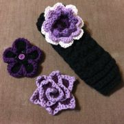 Black Ear Warmer with Interchangeable Purple Flowers