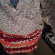 A skirt I made and baby hat I made
