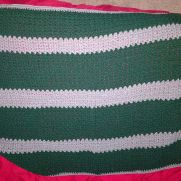 Green and gray baby blanket