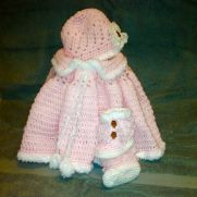 Baby Girl Winter Set (poncho, loop booties, beanie)