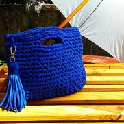 Blue Crochet Bag, Handmade Bag, Summer Bag, Cotton Tote, Woman Gift, Small Bag, Bag for Summer