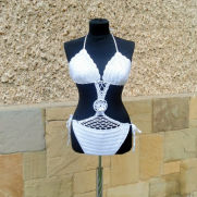 White Crochet Swimsuit, Crochet Swimwear, Summer Swimsuit, Beach wear, White Cotton Swimwear,